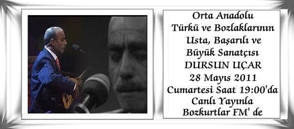 CANLI YAYIN – Orta Anadolu Türkü ve Bozlaklarının Usta ve Başarılı Sanatçısı DURSUN UÇAR Canlı Yayınla…
