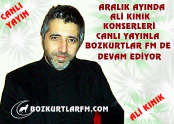 Aralık Ayı Ali Kınık Konserleri Canlı Yayınla Bozkurtlar Fm'de