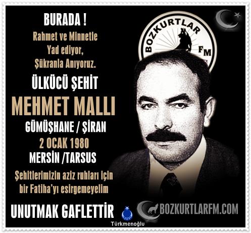 MEHMET MALLI – ÜLKÜCÜ ŞEHİT – 2 OCAK 1980