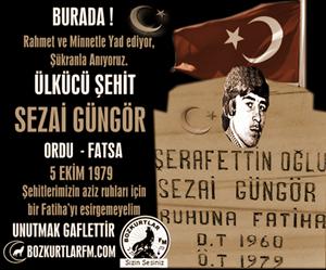 Sezai Güngör – Ülkücü Şehit – 5 Ekim 1979